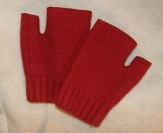 Red Christmas Half Gloves with Cable knit by mcleodhandcraftgifts,