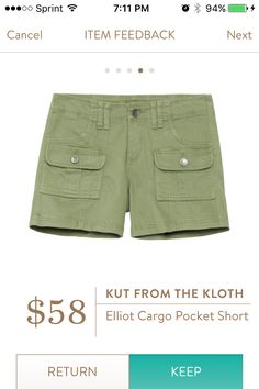 I love the way Kut fits me! I need a pair of summer shorts that aren't too short. I like the color.
