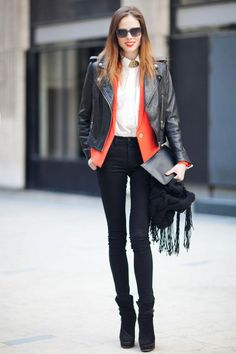 FALL  STREET STYLE 2013 | Paris Fashion Week Fall 2013: Street Style - Paperblog  ROCKING BOTH ORANGE AND BLACK