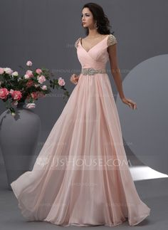Vestidos princesa/ Formato A Decote V Longos De chiffon Tule Vestido de baile com Pregueado Bordado Lantejoulas (018022748)                                                                                                                                                      Mais