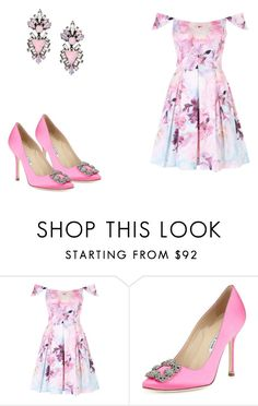 """""""216 outfit"""" by julieannbb13 ❤ liked on Polyvore featuring Manolo Blahnik and Erickson Beamon"""