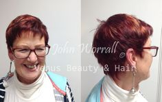 John created Carol's hair by using intense red tones with vibrant sunlights to give an edgy, modern pixie cut.