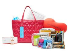 """Show You Care: If you're looking for something your whole department can chip in to buy, this is a great option to consider. It's a BFFLBag® stocked with after-care supplies for women undergoing mastectomy surgery. The bag is full of helpful items like the """"axillapilla"""" and a drain care pack as well as toiletries, healthy snacks, amusements and scar treatment products. 20% of each purchase goes to Friends Fighting Breast Cancer. #BFF #NurseBling #Nurses"""