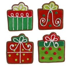 """RAZ Present Cookie Christmas Ornament Set of 4  4 Asst Red/Green/White Made of Polyethylene Measures 6"""" For Decorative Use Only RAZ Exclusive  Additional photo of ornament includes"""