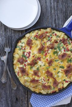 Pimento peppers, bacon, cheddar and a little hot sauce for heat make a wonderful breakfast casserole you can make the night before and bake the next morning.
