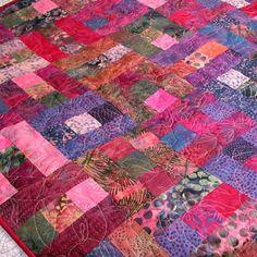 Handmade Batik Quilt in Fuchsia Violet Pink Patchwork ...