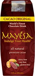 Mayesa is a deep, delicious and uplifting beverage made from organic cacao (the purest form of chocolate). We blend our Fair Trade cacao with select spices for an indulgent and satisfying taste experience. Mayesa provides you with a tasty source of fiber, calcium, potassium, vitamin D and antioxidants. Mayesa is dairy free, soy free, gluten free, has no cholesterol and no trans fats. Cacao has been used for centuries for its unparalleled health benefits.