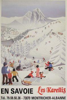 vintage ski poster - En Savoie... Les Karellis - Oeuvre d'Agnès Lainé - 1985 #RogersWinterWhites