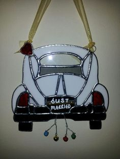 Stained glass VW wedding car designed by Glass Gifts Garioch