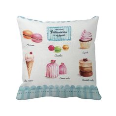 various macaron with cupcake and ice cream printed customized cushion covers home and bakery decorative white throw pillow case