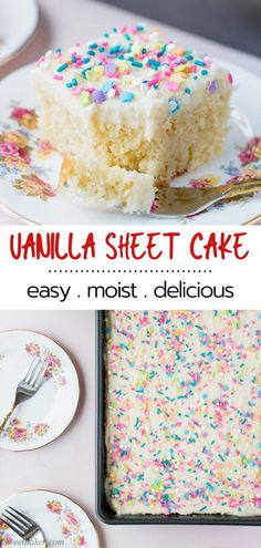This delicious vanilla sheet cake is soft moist and topped with a fluffy vanilla buttercream. Its the ultimate dream cake for vanilla lovers. Make this easy dessert recipe for your next special occasion or any occasion! Sheet Cake Recipes, Easy Cake Recipes, Easy Desserts, Sweet Recipes, Delicious Desserts, Dessert Recipes, Recipe For Cakes, Easy Birthday Cake Recipes, Vanilla Desserts