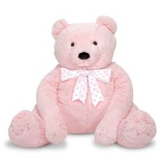 Jumbo Pink Teddy Bear. This oversize snuggle buddy is the perfect accent for your bear lover's room.   **Update 12-26-11**  Our daughter received this on Christmas day and she immediately loved running and diving into it.     http://www.my-linker.com/hop/JumboPinkTeddyBear