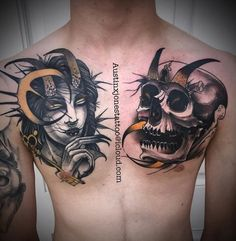 Skull and Horned woman Tattoos on Chest by Austin Jones Woman Tattoos, Tattoos For Women, Austin Jones, Tattoo Colors, Temple Tattoo, Neo Traditional Tattoo, Custom Tattoo, Tattoo Artists, Tattoo Ideas
