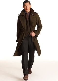 Brown coat and suede shoes