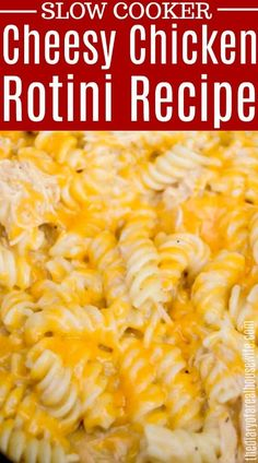 Start with a creamy chicken sauce then add pasta and cheese. Easy and cheesy this Slow Cooker Cheesy Chicken Rotini is a family favorite Chicken Rotini Recipe, Creamy Sauce For Chicken, Cheesy Chicken Pasta, Cheesy Chicken Casserole, Chicken Recipes, Cabbage Slow Cooker, Slow Cooker Kielbasa, Easy Pasta Dinner Recipes, Pasta Recipes