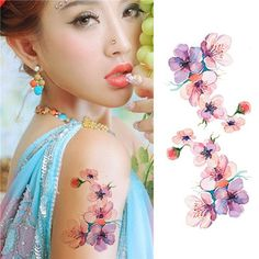 Check out ** 1 Sheet Waterproof Momentary Tattoo Sticker Watercolor Orchid Sample DIY Arm Physique Artwork Decal by Make-up Equipment