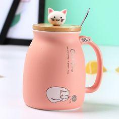 New sesame cat heat-resistant cup color cartoon with lid cup kitten milk coffee ceramic mug children cup office gifts Tea Mugs, Coffee Mugs, Coffee Latte, Hot Coffee, Mug Chat, Tassen Design, Chat Rose, Cat In Heat, Cat Wine