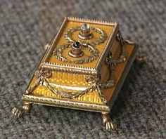 faberge silver, gold guilloche enamel two button bell push