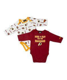 Red Washington Redskins Long-Sleeve Bodysuit Set - Infant 9646ad5c0822c