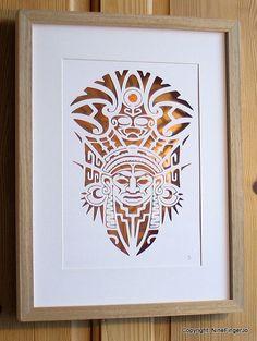 Papercut Art aztèque Totem Original Papercutting par NineFingerJo