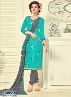 Pleasant Blue Coloured Cambric Cotton Salwar Suit