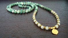China Jade & Moonstone Prosperity Mala - Necklace and Wrap Bracelet - Yoga, Buddhist, Prayer Beads - Free Shipping Etsy. $59.00, via Etsy.