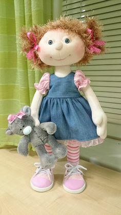 Textile Handmade Doll Fabric Art Doll Nursery Baby Doll Cloth Collection Doll Muñecas Poupée Blue Tilda Doll Interior Rag Doll by Olga S Cat Fabric, Fabric Dolls, Fabric Art, Doll Crafts, Diy Doll, Girl Dolls, Baby Dolls, Waldorf Dolls, Sewing Toys