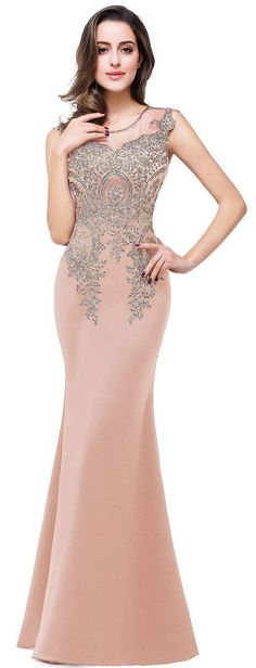 US$113.63-Mermaid Long Sleeveless Appliqued Lace Nude Sheath Long Prom Dress. https://www.newadoringdress.com/mermaid-long-sleeveless-appliques-embroidery-lace-dress-p331750.html.  Free Shipping! As a global online dress shopping destination, NewAdoringDress selected the best prom dresses, party dresses, cocktail dresses, formal dresses, maxi dresses, evening dresses and dresses for teens such as sweet 16, graduation and homecoming. #NewAdoringDress