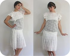 20s Inspired Drop Waist Dress  Vintage 1970s White by TrioVintage, $88.00