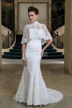 ärmellos Gericht Schleppe keine Taille Meerjungfrau Stil bodenlanges Brautkleid mit Jacke