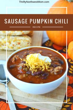 This Slow Cooker Sausage Pumpkin Chili is a delicious fall comfort food Best Soup Recipes, Best Dinner Recipes, Chili Recipes, Slow Cooker Recipes, Meat Recipes, Fall Recipes, Crockpot Recipes, Sausage Recipes, Delicious Recipes