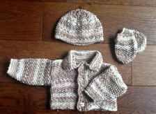 Baby Boy Hand Knitted Cardigan Jacket Beanie Hat