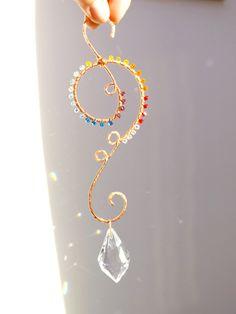 Crystal Suncatcher, Pure Copper Wire Wrapped Rainbow Suncatcher
