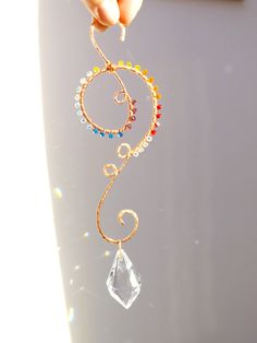 Crystal Suncatcher, Pure Copper Wire Wrapped Rainbow Suncatcher