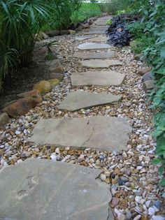 Austin Lawn Drainage  Dry Creek pathflagstone path in gravel   Stone walkways are a great solution for  . Flagstone Sidewalk Pictures. Home Design Ideas