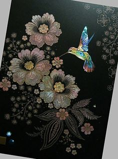 Bug Art Jewels greeting card - Blue Hummingbird by Jane Crowther