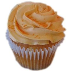 Christmas Orange Cupcake - Moist and Sweet Orange Cake Topped with Sweet Orange Butter Cream Frosting and Sugar sprinkles