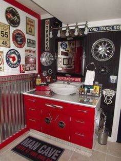 Bathroom , Wonderful Teenage Bathroom Ideas : Boy Teenage Bathroom Ideas Man Cave Red White Vanity And Bowl Sink And Automotive Accessories