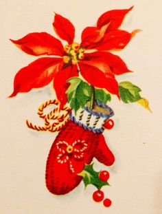Vintage Christmas Card. Retro Christmas Card. Christmas Mittens.