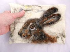 Needle felted painting of rabbit/hare by Felted Fido.