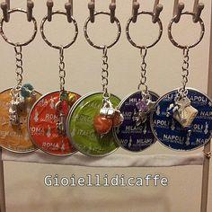 Portachiavi realizzati con cialde del caffe Bialetti