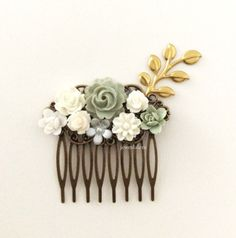 Sage Wedding Hair Comb Olive Moss Green White Bridal Head Piece Gold Autumn Floral Hair Pin Leaf Flower Rustic Woodland Vintage Style WR