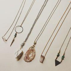 A few necklaces I have been working on  #agate #crystal #brassjewelry #quartzcrystal #boho #bohochic #bohoglam #pendantnecklace