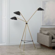 Shop floor lamp from west elm. Find a wide selection of furniture and decor options that will suit your tastes, including a variety of floor lamp. Brass Floor Lamp, Led Floor Lamp, Modern Floor Lamps, West Elm Floor Lamp, Modern Lighting, Lighting Design, Mid Century Chandelier, Mid Century Lighting, Mid Century Modern Lamps