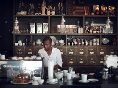 haas collective // cape town // photo by guy with camera Coffee Shop Bar, Coffee Shops, Cafe Counter, Cafe Me, Coffee Places, My Ideal Home, Crate Shelves, Coffee Wine, Cafe Tables