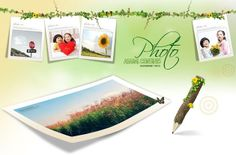 Child photograph, flower vines, borders, photo frames, beautiful photography, sunflower, photo, PSD material download.