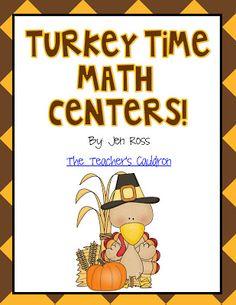 EIGHT Thanksgiving math centers geared toward 2nd grade
