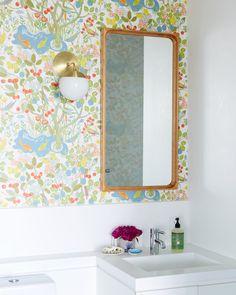 Liz Libré's Brooklyn House Tour - Wallpaper: Josef Frank for Svenskt Tenn, Wood mirror: vintage, Sconce: Cedar & Moss