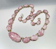 Vintage Purple Satin Glass Czech Art Deco Necklace