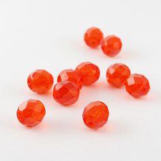 Czech Round Firepolished Glass Beads, Orange, 8 mm, 20 pcs